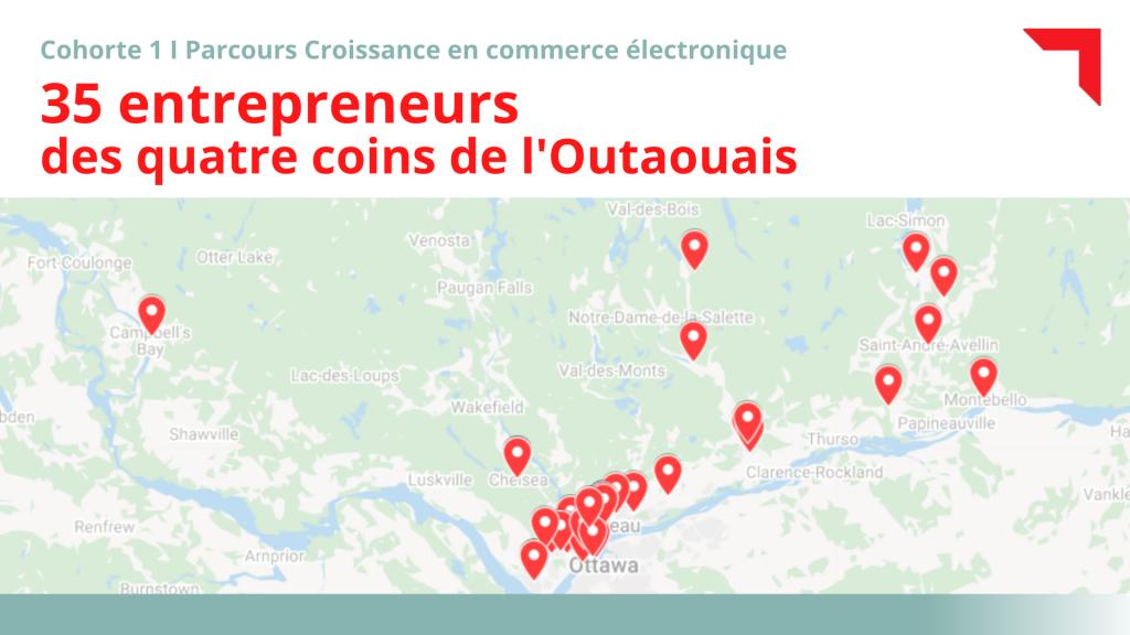 Carte géographique de l'Outaouais représentant les 35 entreprises inscrites dans le Parcours de croissance en commerce électronique de l'École des entrepreneurs du Québec et d'Export Outaouais